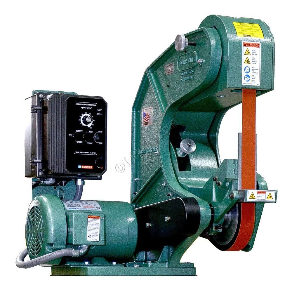 2 inch belt sander. burr king 760, 2 x 60 inch 3 wheel belt grinder, variable speed sander