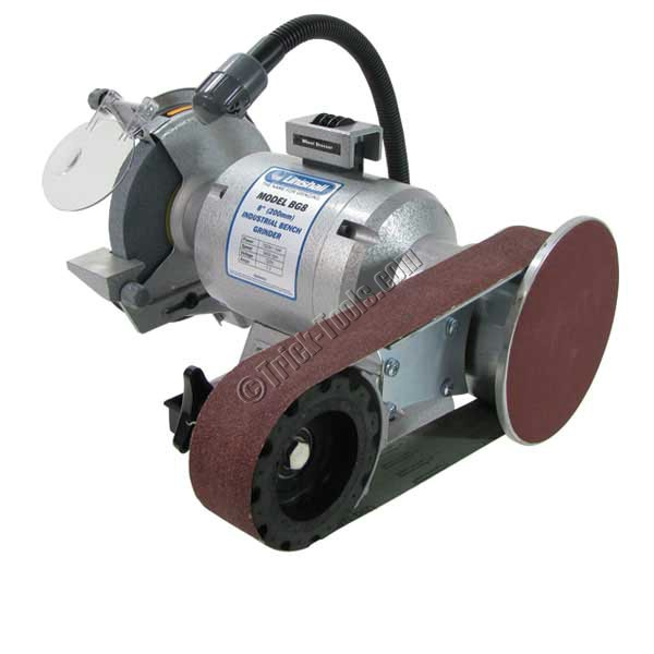 Linishall 8 Inch Hd Bench Grinder With Belt And Disc Grinding Attachment