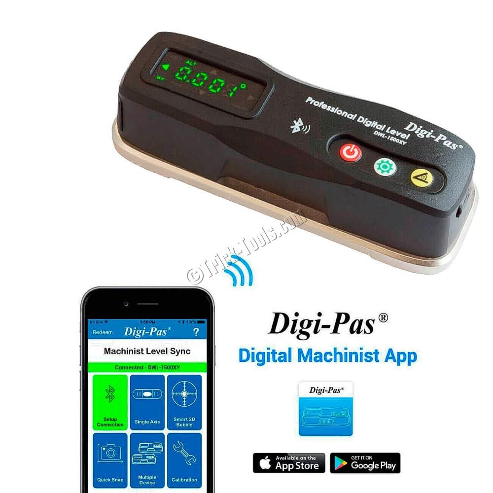 Digi-Pas DWL-1500XY Bluetooth 2-Axis Digital Machinist Level